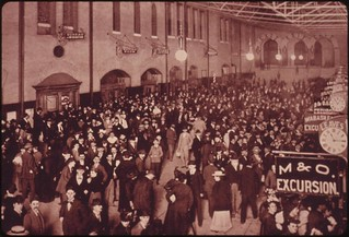 Passengers jam the interior of the St. Louis, Missouri, Union Station in a copyrighted picture taken by B.A. Atwater in 1895 and preserved in the files of the Union Terminal, June 1974