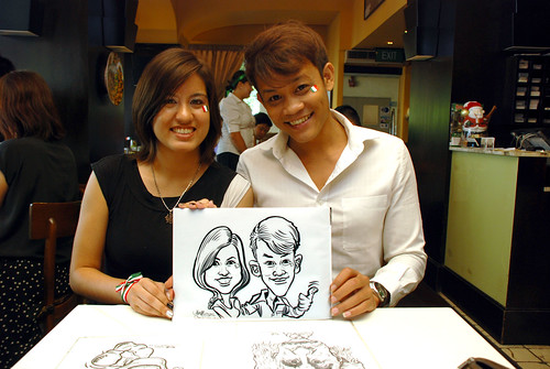 Caricature live sketching at La Noce Italian Restaurant -1
