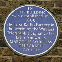 Photo of Guglielmo Marconi and Wireless Telegraph Company Limited blue plaque