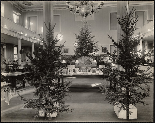 West End Branch. Christmas exhibit, Madonna & candlesticks courtesy of Irving & Casson. Boylston St., Boston