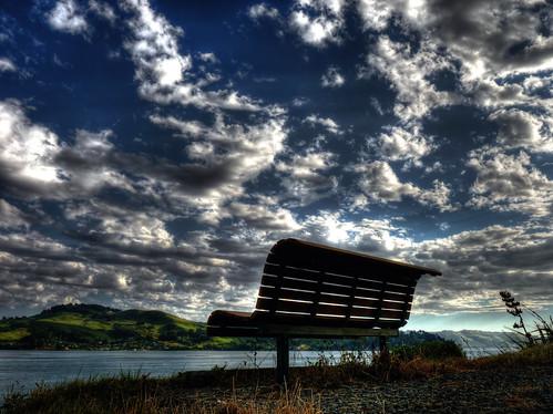 new blue sea sky sun reflection dan beautiful up clouds photoshop bench landscape lumix high scenery glow view seat web dream hills panasonic zealand bm nz stunning flare dunedin nik hdr goodwin bestofmonth photomatix bestofthemonth colorefex fz38 fz35 pommedan bestofmonthaward