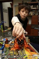 nick building the lego power miners lavatraz kit