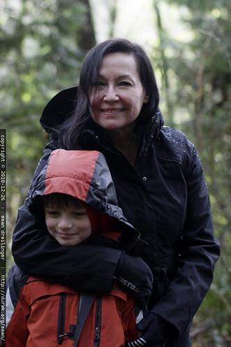 grandma neeta and nick at the end of a long hike