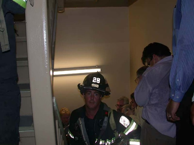 As World Trade Center workers descended the stairs of Tower One to escape, firefighter Mike Kehoe entered the building to help in the evacuation effort, by John Labriola