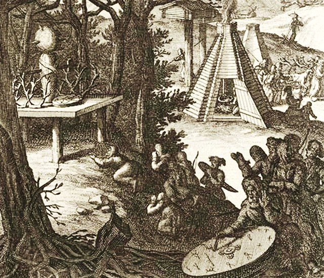 Sweden - Sami people ca. 1700 Worshipping of the Pagan God Thor