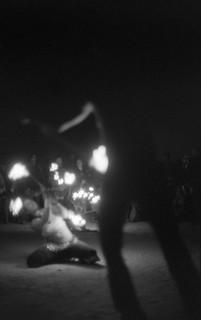 Fire Dancers at Temple burn /