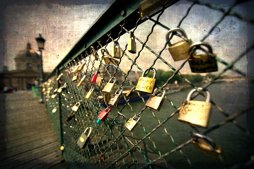 Love-locks on Paris bridge