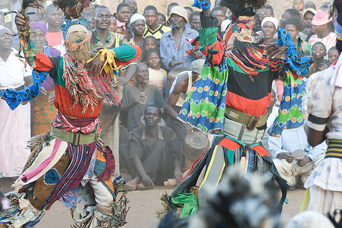 Coordinated dancers at the Big Dance, rural Malawi