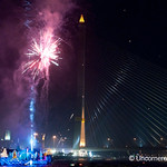 Fireworks on the Chao Praya River for Loi Krathong Festival - Bangkok, Thailand