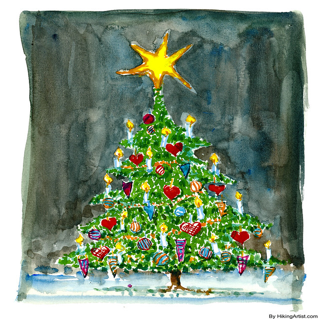 Watercolour Christmas Tree: Watercolor Christmas Tree