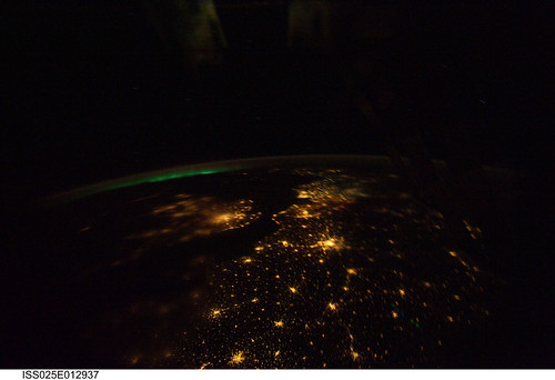 Aurora Borealis Over Europe (NASA, International Space Station, 11/07/10)