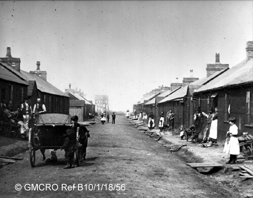 Navvies' huts, at Acton Grange where entire families lived during construction, c.1890s. (GB124.B10/10/1/18/56).