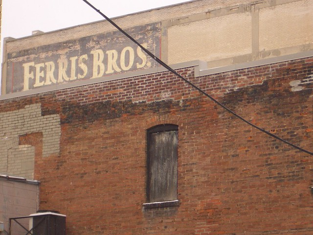 Back shot of commercial buildings in Downtown Flint Michigan MI