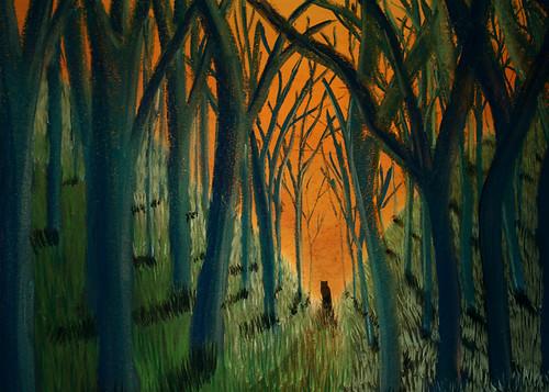 Ilustración: la silueta de un animal en un bosque solitario