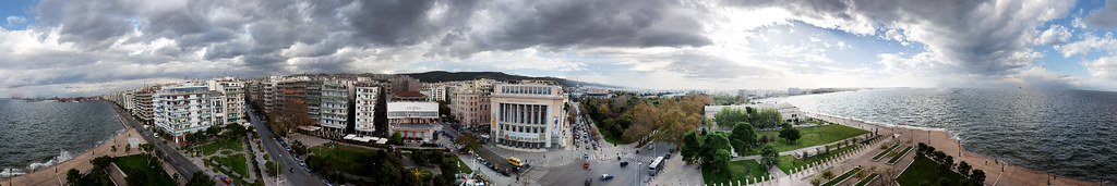 Panorama view from White Tower of Salonica, Greece,