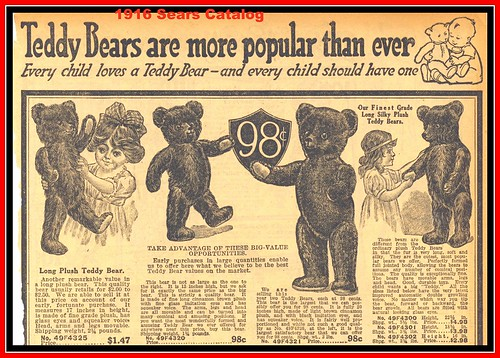 Top half of page, 1916 Sears Christmas, Teddy Bears are more popular than ever