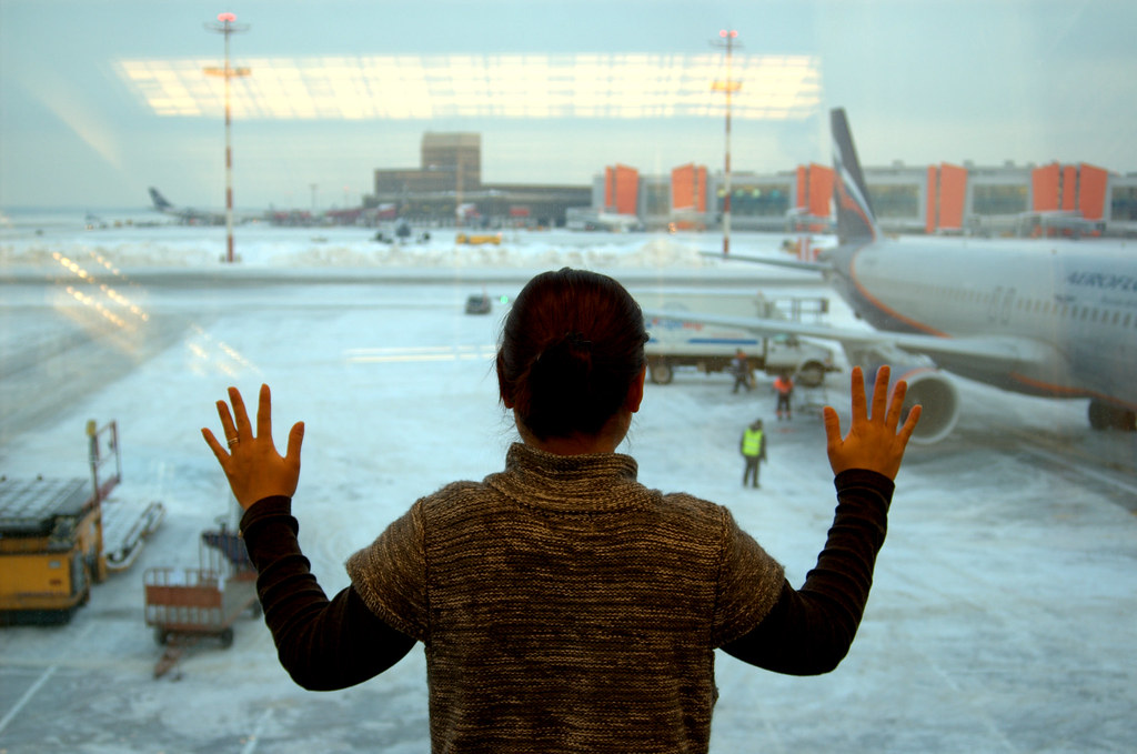 Inside Moscow Airport looking out