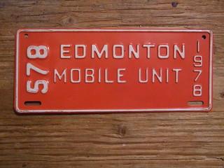 EDMONTON, ALBERTA 1978 ---MOBILE UNIT PLATE #578