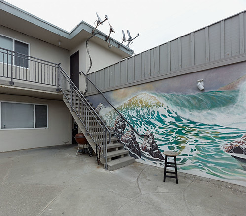 ocean california ca building horizontal stairs outside mural day unitedstates wave overcast nopeople grill stool pacifica largeformat satellitedish wideangleview asaalanwgeorge
