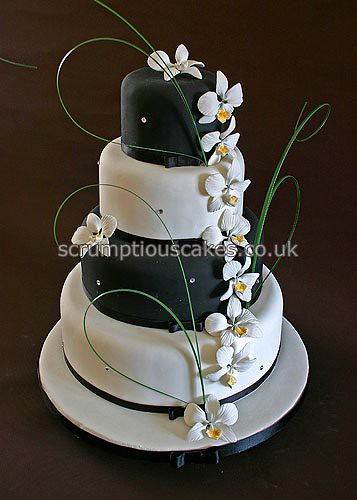 wedding cake 693 black white orchids a photo on flickriver