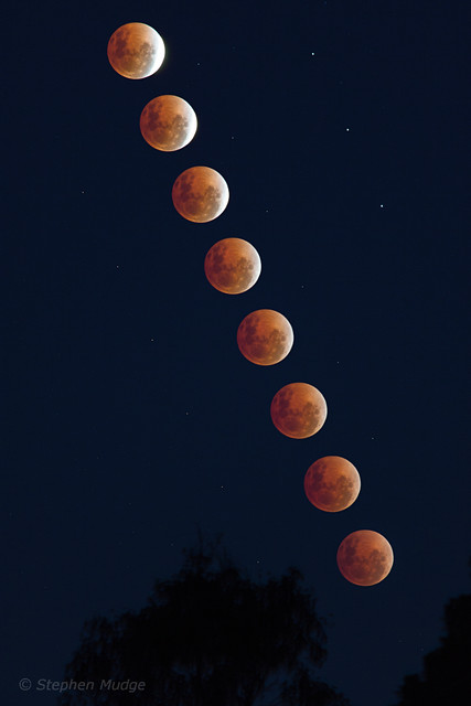 Eclipsed Moon rising, 15 April 2014