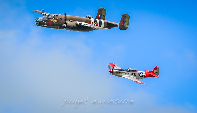 "P-51 Mustang ""Val-Halla"" HFM & B-25D Mitchell HFF Fly By"