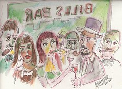 """SMOKING IN NEW YORK CITY BARS By Robert L. Huffstutter: another watercolor in a series about """"We are smoking in a NYC Bar right now..."""" Image #2"""