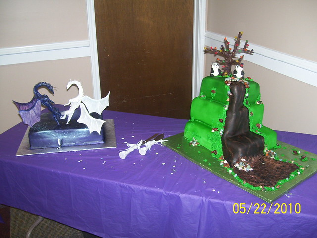 Panda Bear Wedding Cake and Dragon Groom's Cake