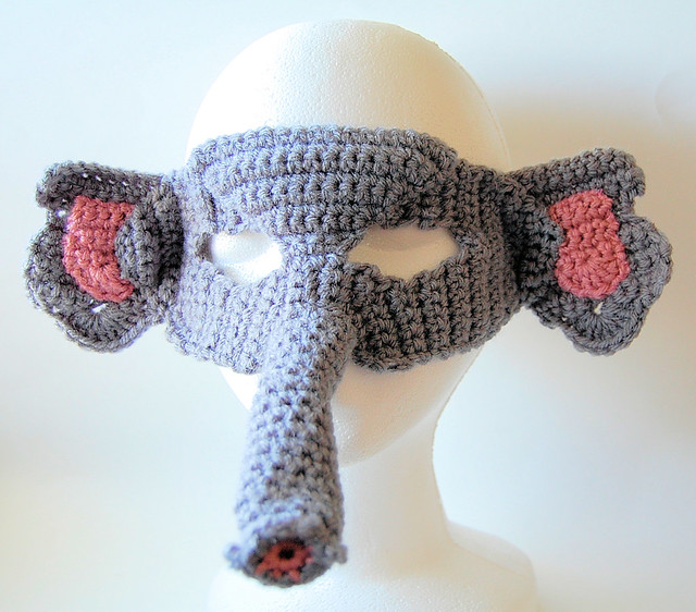 crocheted elephant mask by knot by gran'ma