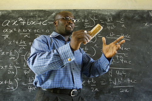 Winston Mills-Compton teaches a class in mathematics at the Mfantsipim Boys School in Cape Coast