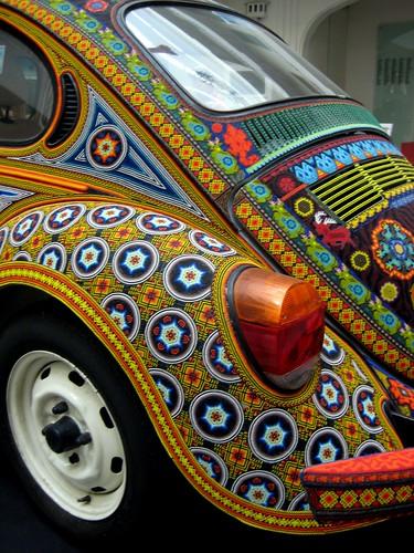 Huichol-style beaded VW beetle