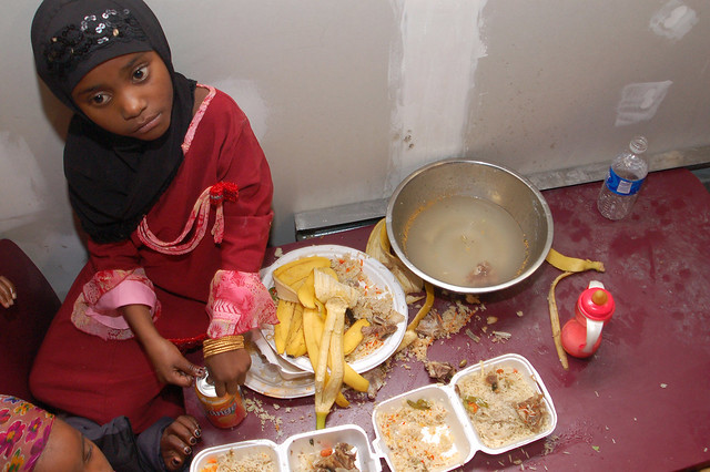 Somali Wedding Bananas and rice were served without utensils to children