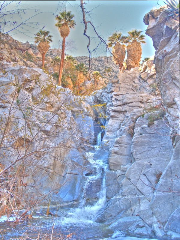HDR of a waterfall with palm trees