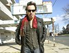 Bruce Springsteen in front of Metropolitan Hotel