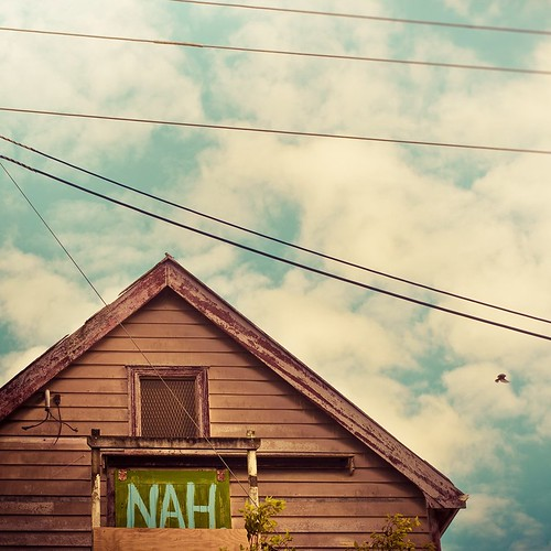 Typography / Shed / Sky / Clouds