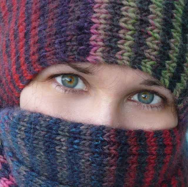 Wrapped Up in Noro Striped Scarf – Self-portrait