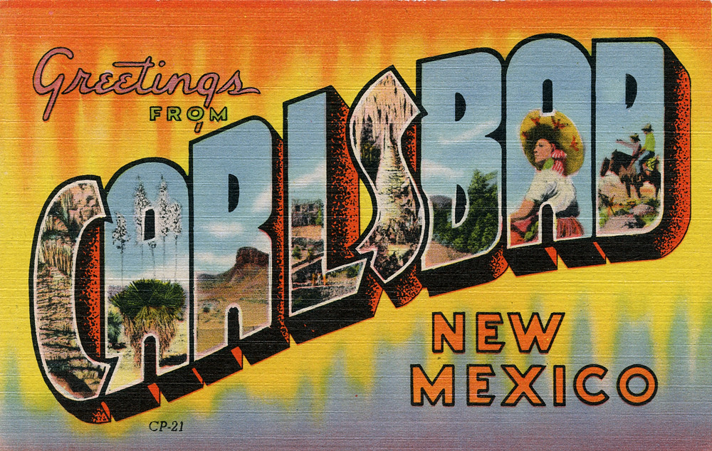 Carlsbad New Mexico - Greetings from Carlsbad, New Mexico - Large Letter Postcard