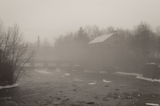 Watson's Mill in the fog photograph