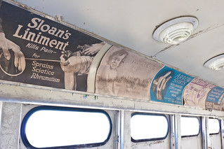Interior shot of vintage advertisements.