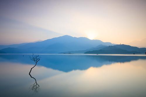 morning lake mountains reflection misty sunrise foggy taiwan 南投 台灣 山 日月潭 sunmoonlake nantou 枯枝 湖泊 日出 霧 倒影 枯木 樹枝 慈恩塔 出水口