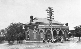 Floodwaters up to steps of Post Office - Narrabri, NSW, 17 January 1910