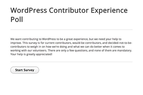 WordPress Contributor Experience Poll