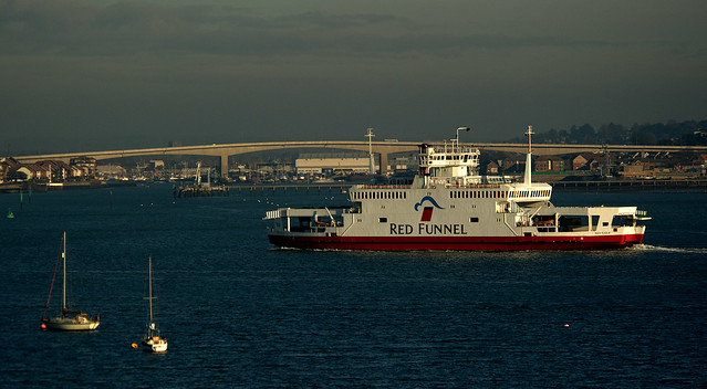 Red Funnel's car ferry 'Red Eagle' in Southampton Water