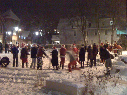 Santa snowball fight on State Street