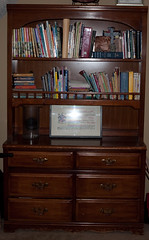 shelving, furniture, wood, chiffonier, room, wood stain, chest of drawers, bookcase, hardwood, desk, cabinetry,
