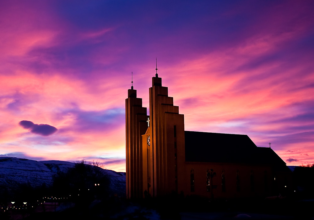 Akureyri church in decemberlight