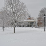 Stonehill College in the Snow