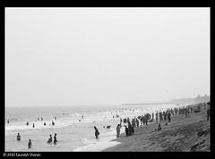 The Auroville Beach crowd
