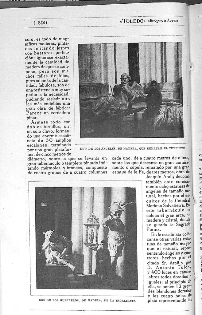 Reportaje sobre el Monumento de la Catedral de Toledo obra de Ignacio Haan publicado en abril de 1928 en la Revista Toledo. Página 4
