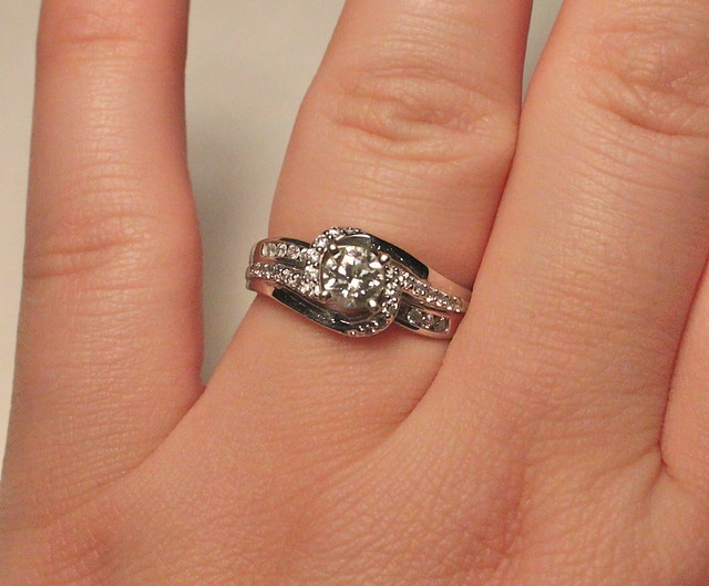 engagement ring on finger my brand new sparkly